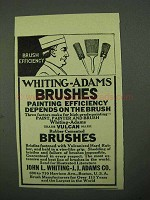 1922 Whiting-Adams Brushes Ad - Brush Efficiency
