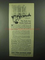 1921 New York Central Lines Ad - Faith That Builds