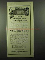 1920 Bankers Trust Company ABA Cheques Ad - Travel