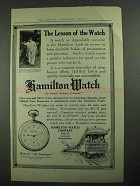 1913 Hamilton Watch Ad - The Lesson of the Watch