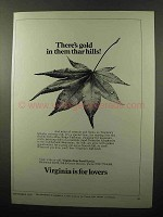 1970 Virginia Tourism Ad - Gold in Them Thar Hills