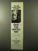 1970 United Way Ad - One Gift Works Many Wonders