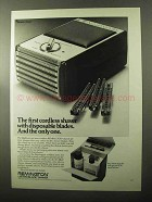1970 Remington Shaver Ad - First With Disposable Blades