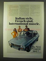 1970 Peugeot 504 Car Ad - Italian Style French Soul