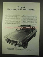1970 Peugeot 504 Car Ad - Bones, Backs and Bottoms