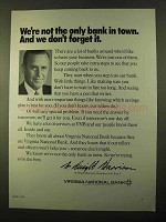1970 Virginia National Bank Ad - Not Only Bank in Town