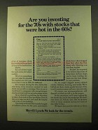 1970 Merrill Lynch Ad - Investing Stocks Hot in 60's