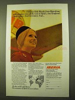 1970 Iberia Airlines Ad - Nice Blonde from Barcelona