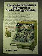 1970 KitchenAid Dishwasher Ad - Front-Loading Portables