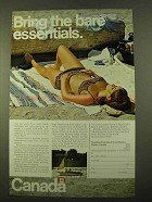 1970 Canada Tourism Ad - Bring the Bare Essentials