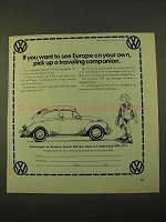 1970 Volkswagen Bug Ad - Europe Traveling Companion