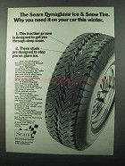 1971 Sears Dynaglass Ice & Snow Tire Ad - You Need It