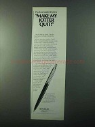 1971 Parker Jotter Ball Pen Ad - Psyched Student's Plea