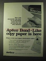 1971 Apeco Bond-Like Copy Paper Ad - Electrostatic