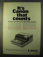 1971 Canon 164P Programable Calculator Ad - Counts