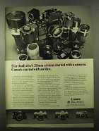 1971 Canon F-1 Camera System Ad - Started With Idea