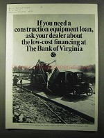 1971 Bank of Virginia ad - Construction Equipment Loan