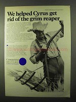 1971 Connecticut Mutual Ad - Get Rid of Grim Reaper