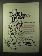 1971 Dow Jones Ad - He Really Gets Around