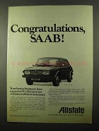 1971 Allstate Insurance Ad - Congratulations SAAB