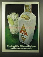 1971 Gilbey's Gin Ad - Break Out, Keep Tonics Dry