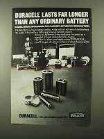 1971 Mallory Duracell Batteries Ad - Lasts Far Longer