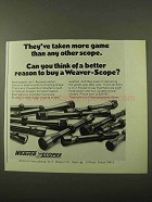 1971 Weaver Scopes Ad - Taken More Game Than Any Other