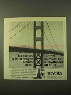1971 Toyota Fork Lift Truck Ad - Carries Lot of Weight