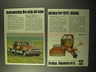 1972 Dodge Adventurer Pickup Truck Ad - All-New