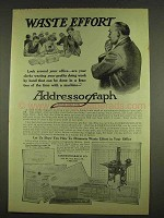 1913 Addressograph Machine Ad - Waste Effort