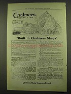 1912 Chalmers Motor Cars Ad - Built in Chalmers Shops
