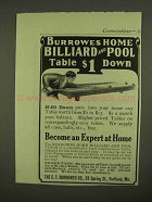 1909 Burrowes Home Billiard and Pool Table Ad
