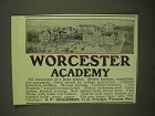 1909 Worcester Academy Ad