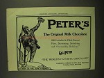 1908 Peter's Milk Chocolate Ad - Still Unrivalled