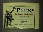 1908 Peter's Milk Chocolate Ad - Purity and Quality
