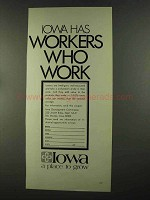 1972 Iowa Development Commission Advertisement - Workers Work