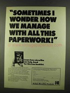 1972 Kodak Microfilm Ad - Wonder How We Manage