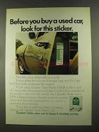 1972 Quaker State Motor Oil Ad - Look for Sticker