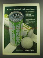 1972 Alcoa Aluminum Ad - Gives Tennis 3-Second Open
