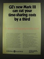 1972 G.E. Mark III Computer Time Sharing Ad, Cut Costs