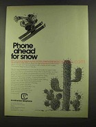 1972 Continental Telephone Ad - Phone Ahead for Snow