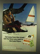1972 Old Gold Cigarettes Ad - Get Away From the Crowd - Ice Sailing