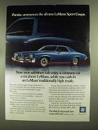 1973 Pontiac LeMans Sport Coupe Ad - Salesmen Can Enjoy