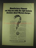 1972 Manufacturers Hanover Ad - Western Europe