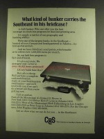 1972 C&S Bank Ad - Carries Southeast in Briefcase