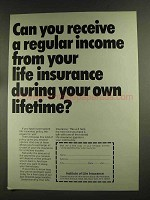 1972 Institute of Life Insurance Ad - Receive Income