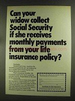 1972 Institute of Life Insurance Ad - Your Widow