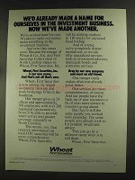 1972 Wheat First Securities Ad - Made a Name
