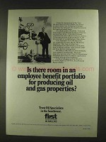 1972 First National Bank in Dallas Ad - Oil and Gas