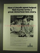 1972 Lincoln National Ad - Helped Tom Curtis Write